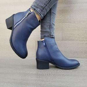 Shoes - Navy Faux Leather Ankle Booties-AA